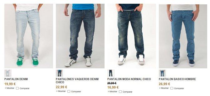 Pantalones vaqueros en las tiendas de ropa Inside