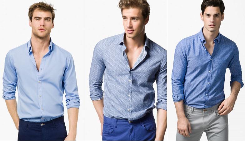 camisas de hombre azules