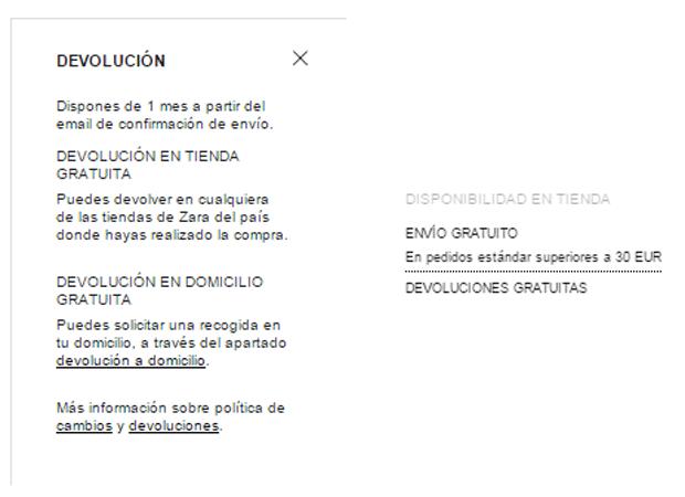 Devoluciones Zara Online