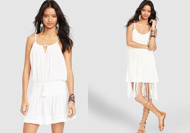 blanco color de moda vestidos flecos