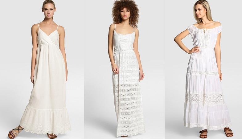 blanco color de moda vestidos largos