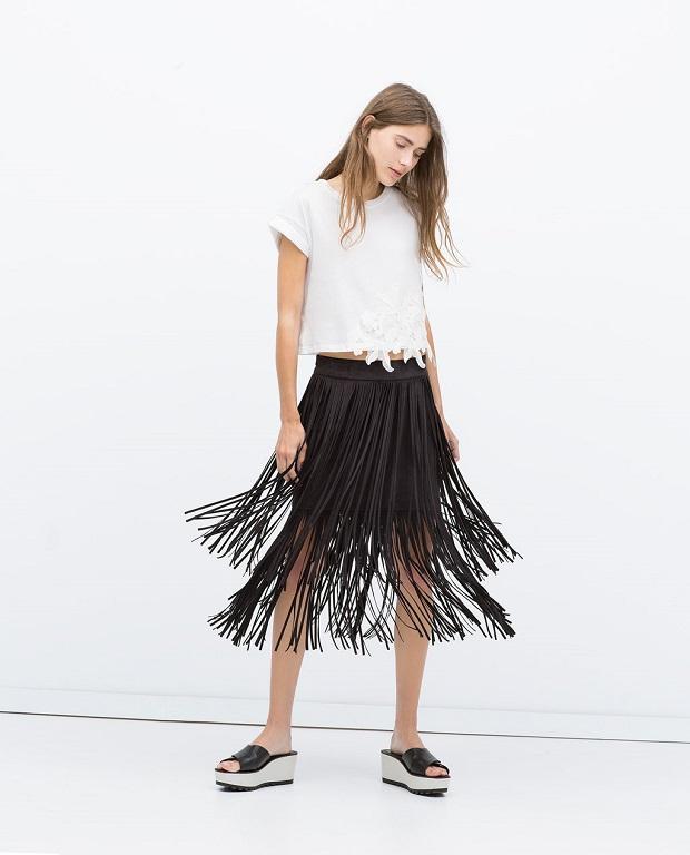 falda de flecos zara