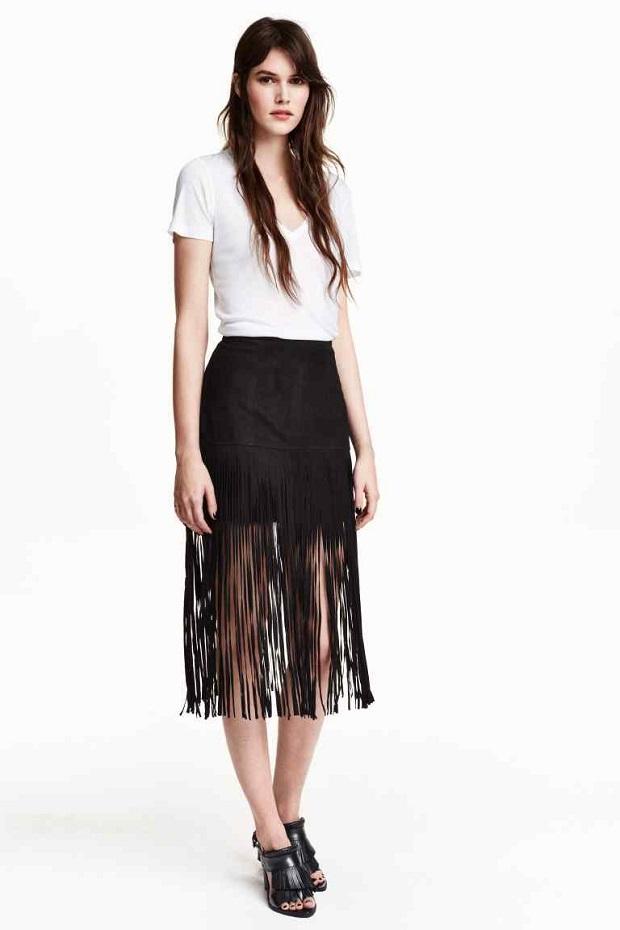 falda flecos H&M