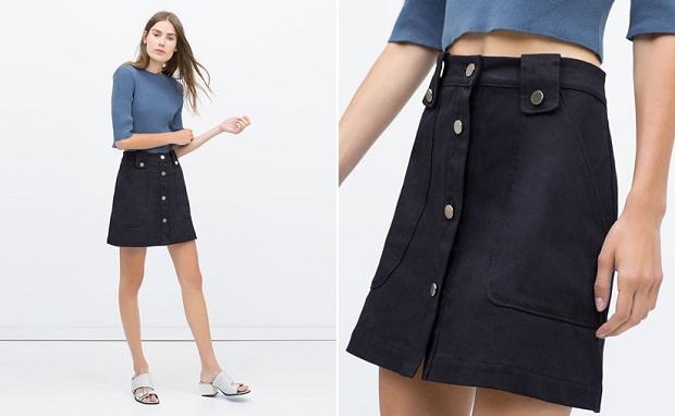 faldas con botones zara
