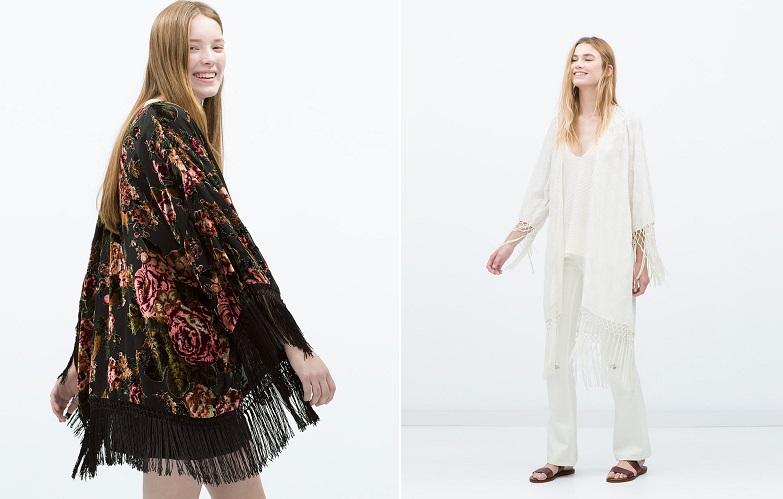 kimono zara looks boho chic