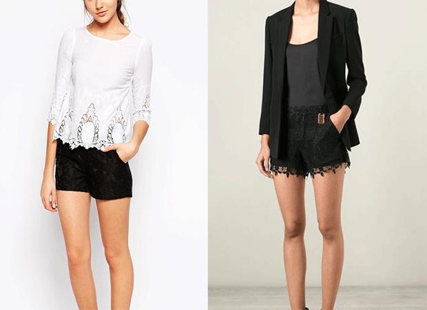 Shorts de encaje Polyvore