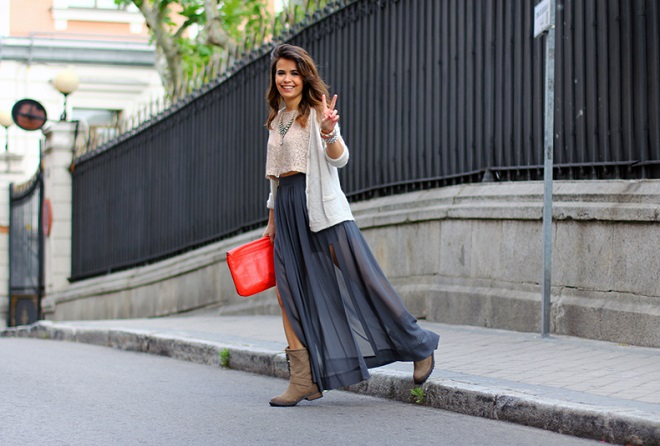 cómo combinar faldas largas (4)